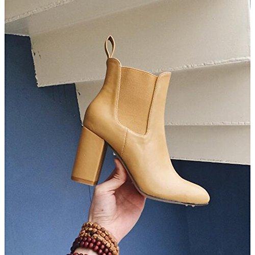 HSXZ Scarpe donna vera pelle Autunno Inverno della pompa base moda Stivali Stivali tacco Chunky Mid-Calf scarponi per Casual Khaki Nero Marrone Brown