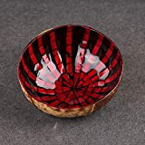 Questquo Colourful Natural Coconut Shell Bowl Eco-Friendly Handicraft Art Work Decorations Color Red