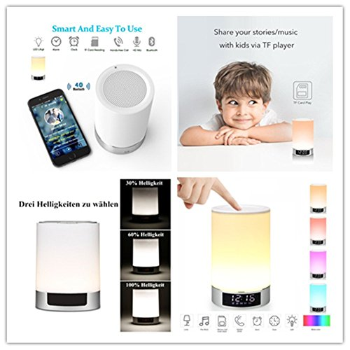 comprare on line Lampada Altoparlante Bluetooth Stereo con Microfono e Batteria 4000mAh, Portatile Lampada da Comodino Cameretta con Sveglia, Lampade da tavolo e abat-jour con Orologio e Calendario, Porta USB Scheda TF per Lettore MP3 (Cilindro Ovale) prezzo