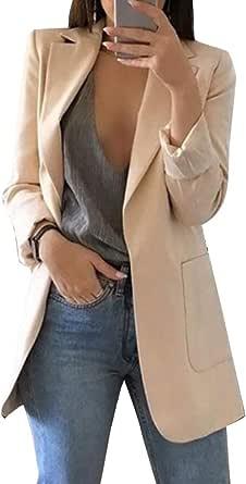 Minetom Donna Maniche Lunghe Aperto Davanti Colletto Cappotto Elegante Ufficio Business Blazer Top Gilet OL Giacca Cardigan