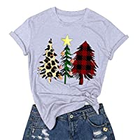‏‪Women Christmas T-shirt, Ladies Xmas Tree Printed Short Sleeve O-Neck Blouse Tops‬‏