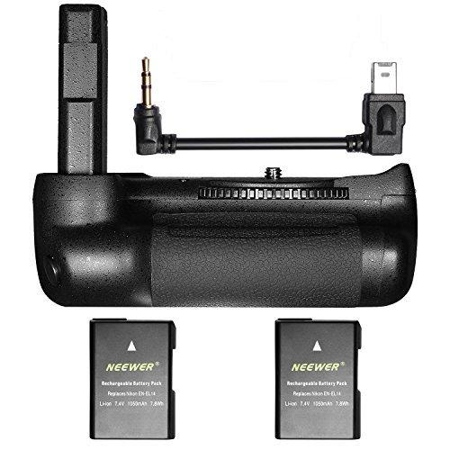 Neewer Pro Vertikaler Batteriegriff für Nikon D5600 D5500 DSLR Kamera mit 2er Pack 7,4V 1050mAh Nikon EN-EL14 Wiederaufladbarer Lithium-Ionen-Akku (Schwarz)