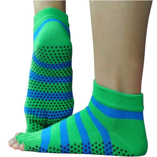 Preisvergleich Produktbild YOKIRIN® Baumwolle mit Massage Punkt Drain Zehe Yoga Socken Grüne Streifen