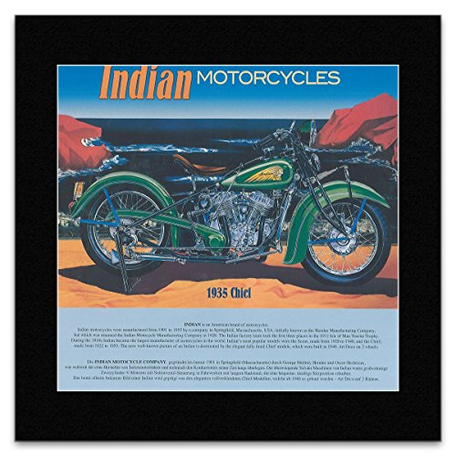 HISTORIC MOTOTRCYCLES - 1935 Chief (Indian) Matted Mini Poster - 28.5x29.5cm