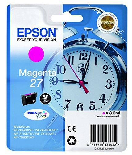 Epson Original T2703 Tintenpatrone Wecker, wisch- und wasserfeste Tinte (Singlepack) magenta
