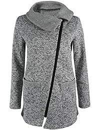 Coversolate La camiseta larga de la cremallera de la capa de la chaqueta con capucha ocasional de las mujeres Outwear las tapas