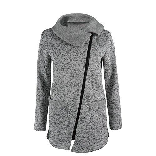 Coversolate La camiseta larga de la cremallera de la capa de la chaqueta con capucha ocasional de las mujeres Outwear las tapas (S, Gris)