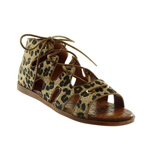Angkorly Scarpe Moda Sandali Gladiatore Alti Donna Merletto Coccodrillo Tacco Tacco Piatto 1 cm Leopardo