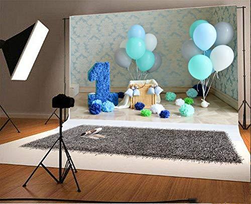 GzHQ Vinyl 7x5ft Fotografie Hintergrund Blau Pinata 1. Dekorationen Einjähriger Geburtstag Säugling Damast Tapete Multi Color Balloons Papier Blumen Thema Hintergründe Porträt