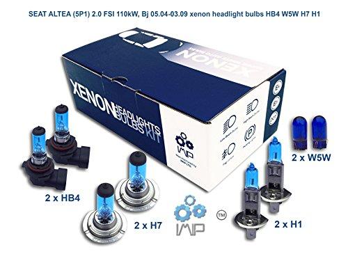 IMIP - SEAT ALTEA (5P1) 2.0 FSI | Kit d'ampoules de phares au Xenon Super Blanc HB4 W5W H7 H1