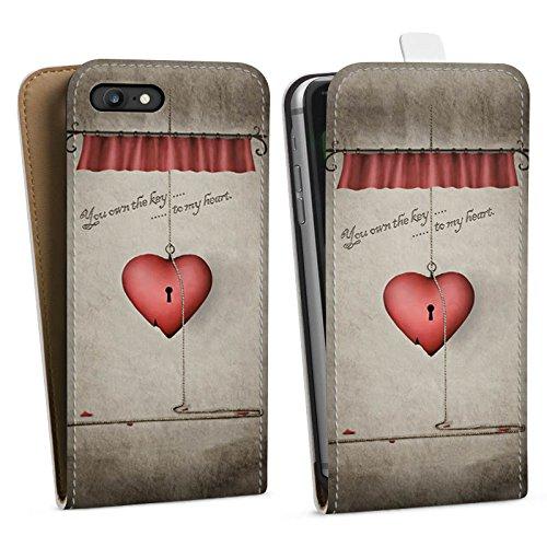 Apple iPhone X Silikon Hülle Case Schutzhülle Herz Spruch Schlüssel Downflip Tasche weiß