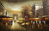 LONGYUCHEN Benutzerdefinierte 3D Seide Wandbild Ölgemälde Stil Paris Straße Landschaft Geeignet Für Tv Hintergrund Wand Schlafzimmer Wohnzimmer Dekoration Wandbild,160Cm(H)×250Cm(W)