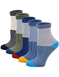 LOFIR Calcetines de Algodón para Niños, Calcetines Cómodo y Suave, Calcetines de Escolares, Calcetines de Deporte Casuales para Chico 2-11 años, 5 pares