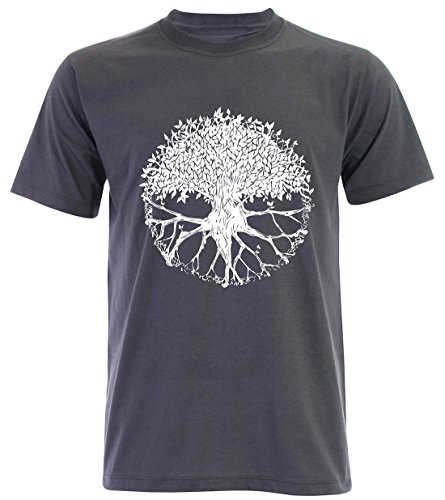 PALLAS Men's Tree of Life Symbols T Shirt -PA235 Slate Grey