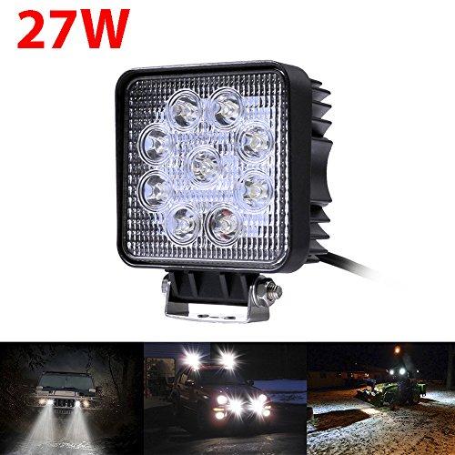 Preisvergleich Produktbild Greenmigo 27W LED Lampe Scheinwerfer kaltweiß Spot wasserfest IP67 Arbeitsscheinwerfer Rücklicht für KFZ viereckig