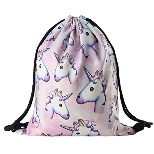 Unicorn Pattern Drawstring Gym Bag Cute Backpack Gift for Girls Women Polyester School Travel Shoulder Rucksack by D&&R