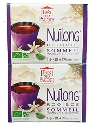 Thés de la Pagode - NUILONG BIO Rooibos au Houblon et Aubepine - SOMMEIL - Lot de 2 x 30 infusettes …