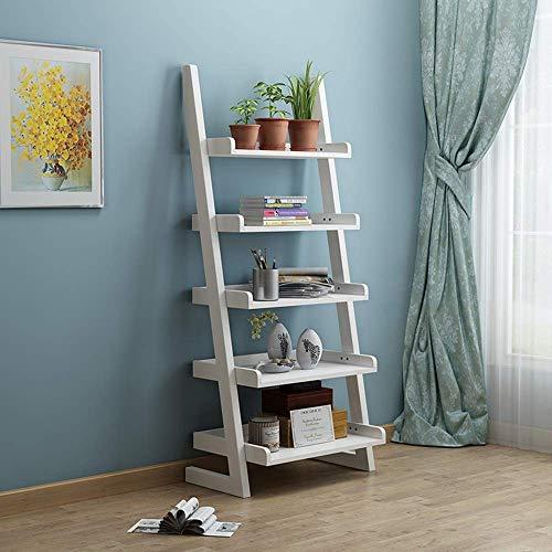 MDD Regalleiter Bücherregal Bücherregal Leiter Holzleiter Regal Bücherregal Stil Regal Platzsparend und einfach zu installieren,Weiß -