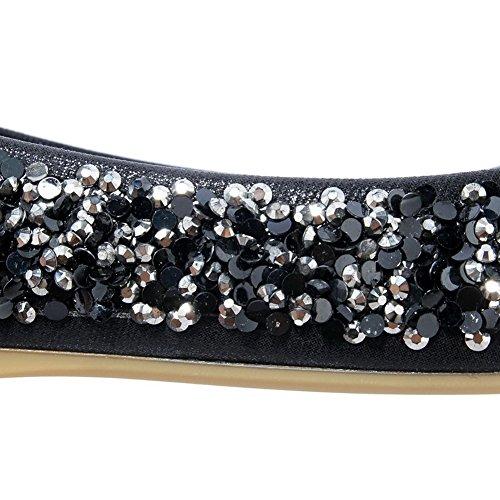 AllhqFashion Damen Weiches Material Ziehen Auf Quadratisch Zehe Eingelegt Flache Schuhe Schwarz