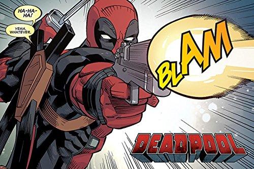 Deadpool Póster Blam (91,5cm x 61cm) + 1 Paquete de tesa Powerstrips® (20 Tiras)
