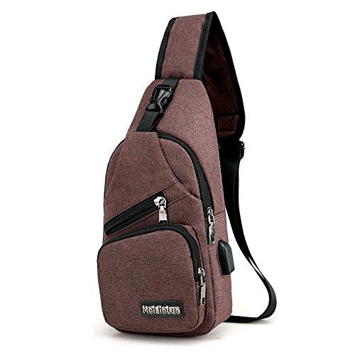penao Charge sac sports seul sac à bandoulière USB hommes toile sac thoracique masculine outdoor pack croix oblique