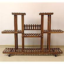 pérgolas de madera maciza - / 120 * 25 * 81 cm para las flores (ruedas extraíbles) - Macetas - marco bonsai multicapa - Balcón - cubierta - piso - sala de estar
