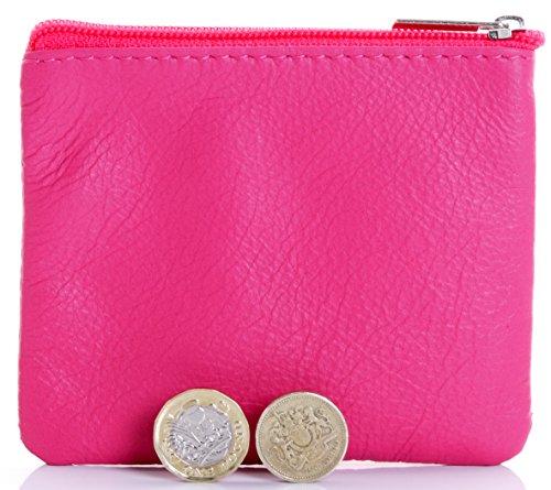 Italiano in morbida pelle con zip portamonete, portamonete o titolare di carta di credito del debito. Fucsia rosa