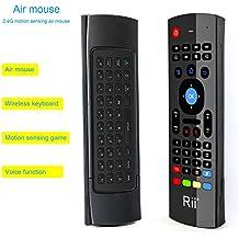 Rii MX3-M 3 en 1: Ratón aéreo inalámbrico 2.4GHz, Teclado QWERTY incorporado con Mando Control remoto de Televisión. Especial para Mini Android PCTV, Voyo Windows mini PC, Reproductores Android, MaxOne, MXQ, MXIII, PS3/4, etc