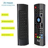 Rii MX3-M 3 en 1: Ratón aéreo inalámbrico 2.4GHz, Teclado QWERTY incorporado con Mando Control remoto de Televisión. Especial para Mini Android PCTV,