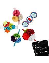 Bundle Monster Ensemble 5 mcx Bandeaux élastiques souples multicolores fait à la main fleur feutre design varié pour nouveaux-nés bébé fille