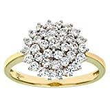 Citerna 9 ct Yellow and White Gold Stone set Cluster Ring - Size P