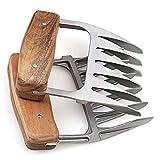 Romote metal Carne Garras, 18/8 acero inoxidable carne Forks con un mango de madera, mejor...