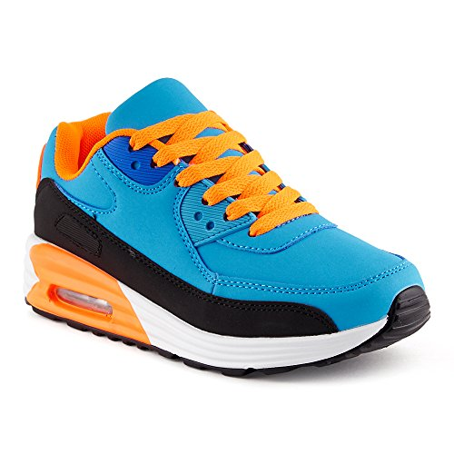 FiveSix Herren Damen Sportschuhe Dämpfung Sneaker Laufschuhe Schwarz/Blau/Orange-W EU 40
