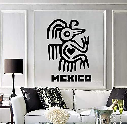 Mexiko Wort Wandtattoo Lateinamerika Maya Aztec Alte Figur Aufkleber für Wohnzimmer Schlafzimmer Vinyl Aufkleber Vintage Poster56X78 cm (Aztec Figuren)
