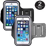 (2 Pack) Brazalete Deportivo, J2CC Premium resistente al agua Outdoor Sport Jogging y Ejercicio brazos de ciclo del paquete brazalete teléfono celular bolsa llavero para iPhone 6 (4,7 pulgadas) 6S Plus (5.5 pulgadas) se, 5s, 5 C y 5 LG G3 G4 G5 (Negro + Gris)