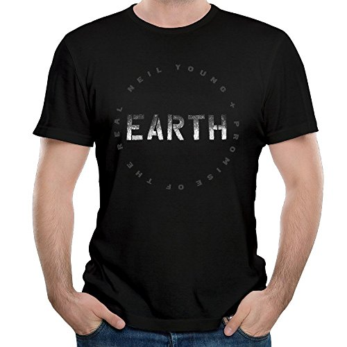 T&Tat Men's Neil Young EARTH Tour 2016 Logo Short Sleeve T-shirt Medium