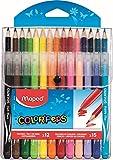 Maped - Combo Pack Coloriage Jungle Color'Peps - 15 crayons de couleur + 12 Feutres Lavables et Résistants au Séchage - Pointe Moyenne Bloquée - Couleurs Vives - Pochette Plastique Refermable