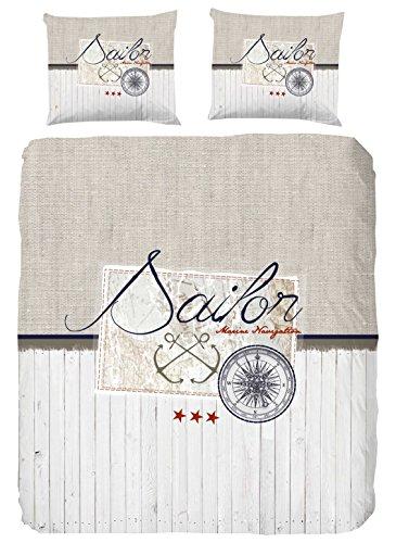Good Morning! Sailor Bettwäsche, Baumwolle, Baumwolle, Sand, 200x140x1 cm