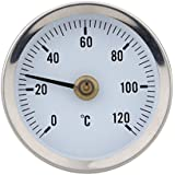 KKmoon 0-120° Clip-on pipe thermometer Temperature Gauge with Spring Bimetal Stainless Steel Surface