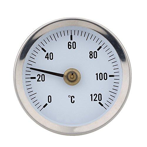 Preisvergleich Produktbild KKmoon 0-120 ° Bimetall Edelstahl Oberfläche Rohr Thermometer Clip on Temperaturanzeige mit Feder