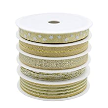 BeiLan 5 Rolls 27Yard(25M) Gold Ribbons for Crafters Gifts Wrapping Decorations DIY Crafts Arts(5M/Roll)