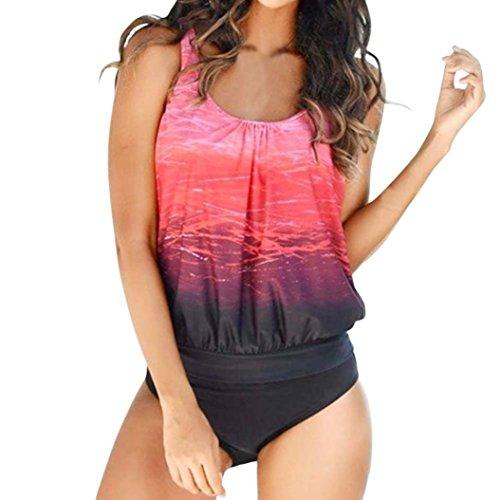 MCYs Damen hit color Einfarbig Plus Size Bikini Set Badeanzug Zwei Stück Schwimmanzug Neckholder Strand Bademode Badeanzug Tankini Bikini top Gr. S-3XL (2XL) (Womens Stück Plus 2)