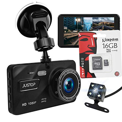 "JUSTOP [Free Kingston 16GB Micro SD] Dash Cam 1080P Full HD In Car DVR Camera Digital Driving Video Recorder 4"" LCD Screen 170°Wide Angle 6G Lens WDR With Waterproof Rear Reversing Camera"