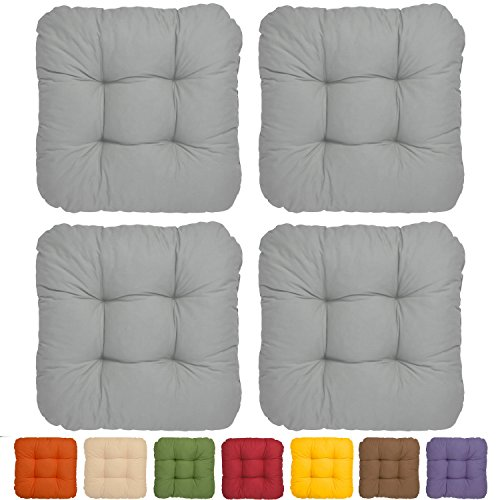 4er Set - Bequemes Stuhlkissen Lisa - 40x40x8 cm - Grau - Besonders stark gepolstertes, weiches Sitzkissen
