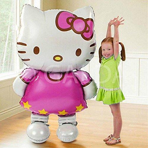 Galda Hello Kitty Riesenluftballon XXL für Geburtstage und Feste, vorbereitet für Helium oder Luft, 110 x 65cm.