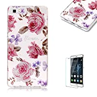 For Huawei P8 Lite Sparkly Sequins soft TPU+IMD Case. Brilliant lovely Colored Drawing Parttern Lightweight Ultra Slim Anti Scratch Transparent Soft Gel Silicone TPU Bumper Protective Case Cover Shell for Huawei P8 Lite - Rose