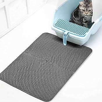 Roblue Tapis de Litière pour Chat Propre et Hygiénique Tapis Imperméable à l'eau pour Chats en EVA XS-XL (XL:55 * 75CM, Gris)