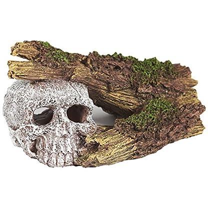 Pet Ting Sunken Skull and Broken Log Aquatic Ornament - Aquarium Decoration - Vivarium Decoration 1