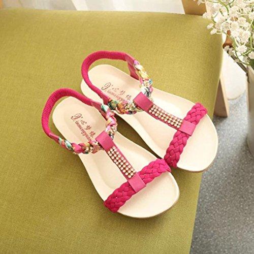 Saingace Frauen Sandalen Elastische Strap Schuhe Casual Schuhe Sandalen Komfort Sandalen Rot