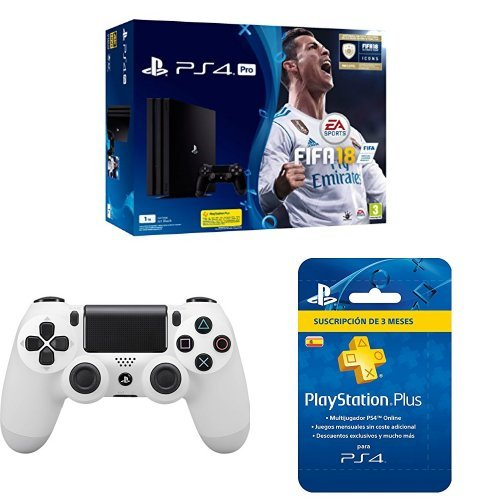 PlayStation 4 Pro (PS4) - Consola de 1 TB + FIFA 18 + Sony - Dualshock 4 V2 Mando Inalámbrico, Color Glacier White (PS4) + Sony - PSN Plus Tarjeta 90 Días - Reedición (PlayStation 4)